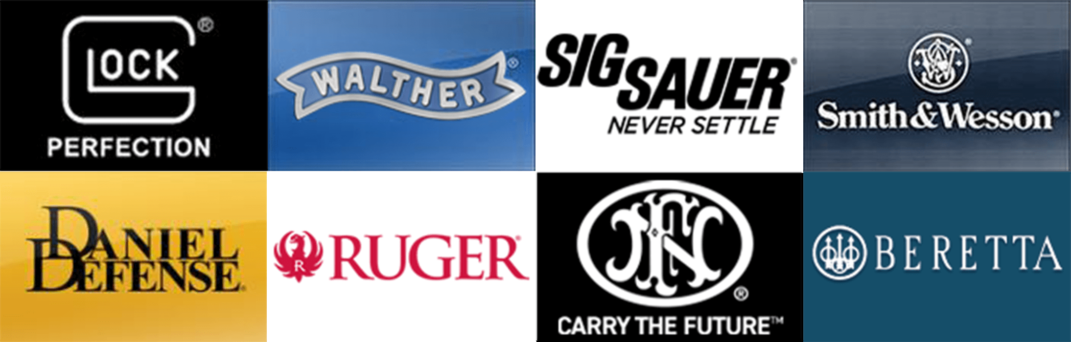 Glock,  walther, sig sauer, smith and wesson, Daniel defense, ruger, fn, beretta